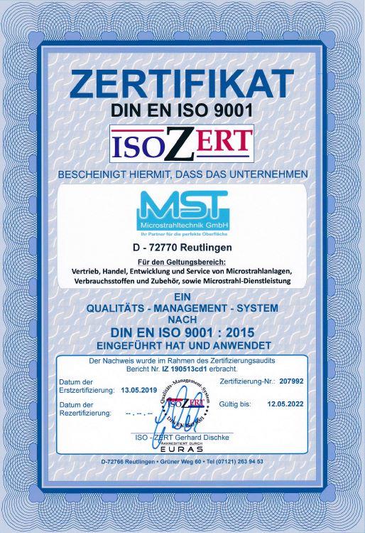 Zertifikat MST